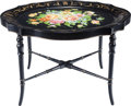 Furniture : English, A Victorian Tole Painted Tea Tray on Later Conforming Ebonized Wood Stand, late 19th century in part. 18-1/2 inches high x 2...
