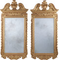 Decorative Arts, Continental:Other , A Pair of Continental Early George III-Style Carved GiltwoodMirrors, 20th century. 75 inches high x 36-1/2 inches wide (190...(Total: 2 Items)