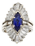 Estate Jewelry:Rings, Diamond, Sapphire, White Gold Ring Set. ...