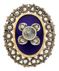Estate Jewelry:Brooches - Pins, Antique Diamond, Enamel, Silver-Topped Gold Brooch. ...