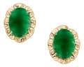 Estate Jewelry:Earrings, Jadeite Jade, Gold Earrings. ...