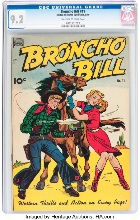 Broncho Bill #11 (United Features Syndicate/Standard, 1949) CGC NM- 9.2 Off-white to white pages....