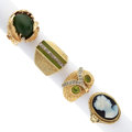 Estate Jewelry:Rings, Diamond, Multi-Stone, Hardstone Cameo, Gold Rings. ... (Total: 4 Items)