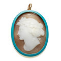 Estate Jewelry:Pendants and Lockets, Antique Cameo, Enamel, Gold Locket. ...