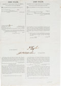 Autographs:U.S. Presidents, John Tyler Partial Ship's Passport Signed. ...