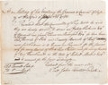 Military & Patriotic:Revolutionary War, [Robert Morris]. A Receipt for Pork & Beef for the ContinentalArmy....