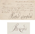 Autographs:Statesmen, Peter Cooper Letter Signed and Signature on Card.... (Total: 2 )
