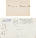 Autographs:U.S. Presidents, Theodore Roosevelt Signed White House Card.... (Total: 2 )