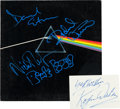 Music Memorabilia:Autographs and Signed Items, Pink Floyd Dark Side of the Moon LP Cover Signed by Threewith Separate Signature of Fourth (Harvest SMAS-11163,...