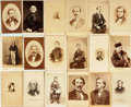 Photography:Cabinet Photos, [Early Photography]. Collection of Eighteen Cartes De Visites ofMostly Unidentified Men. Circa mid to late nineteenth-centu...