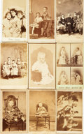 Photography:CDVs, [Early Photography]. Collection of Nine Small Cabinet Cards and Cartes De Visites. Undated, Circa mid to late nineteenth-cen...