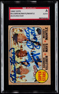 Baseball Cards:Singles (1960-1969), Signed 1968 Topps Killebrew/Mays/Mantle Super Stars #490 SGC Authentic....