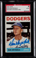 Baseball Cards:Singles (1960-1969), Signed 1964 Topps Don Drysdale #120 SGC Authentic....