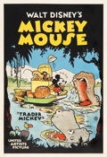 "Movie Posters:Animation, Trader Mickey (United Artists, 1932). One Sheet (28"" X 41"").. ..."