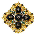 Estate Jewelry:Brooches - Pins, Georgian Multi-Stone, Diamond, Seed Pearl, Gold Pendant-Brooch. ...