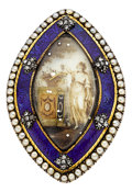 Estate Jewelry:Brooches - Pins, Antique Diamond, Seed Pearl, Quartz, Enamel, Base Metal Mourning Pendant-Brooch. ...