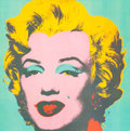 Fine Art - Work on Paper:Print, Andy Warhol (American, 1928-1987). Marilyn Monroe. Color print on canvas. 40 x 40 inches (101.6 x 101.6 cm) (sight). ...