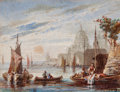 Fine Art - Work on Paper:Drawing, British School (19th Century). View of Santa Maria della Salutewith boats in the foreground. Oil on card. 3-1/4 x 4-1/4...
