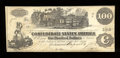 Confederate Notes:1862 Issues, T40 $100 1862. A couple of pinholes are noticed on this note thatcarries the issuing rubber stamp of Confederate agent T. S...