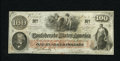 Confederate Notes:1862 Issues, T41 $100 1862. A corner fold is found on this Scroll 2 note thatwas stamped on the back by Confederate agent T.Sanford. C...