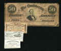Confederate Notes:1864 Issues, T66 $50 1864. Several edge notches are found on this Good-Very Good Jeff Davis $50. Also, included in this lot are a $4;... (Total: 4 items)