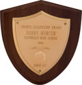 Baseball Collectibles:Others, 1964 Bobby Murcer Sports Leadership Award from The Bobby MurcerCollection. ...