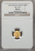California Fractional Gold , 1870 50C Liberty Round 50 Cents, BG-1010, R.3, MS64 NGC. NGCCensus: (14/8). PCGS Population (43/24). ...