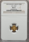 California Fractional Gold , 1870 50C Goofy Head Round 50 Cents, BG-1047, High R.4, MS61 NGC.NGC Census: (4/10). PCGS Population (8/25). ...