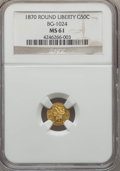 California Fractional Gold , 1870 50C Liberty Round 50 Cents, BG-1024, Low R.4, MS61 NGC. NGCCensus: (6/8). PCGS Population (21/63). ...