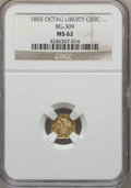 California Fractional Gold , 1855 50C Liberty Octagonal 50 Cents, BG-309, R.5, MS62 NGC. NGCCensus: (3/2). PCGS Population (13/10). ...