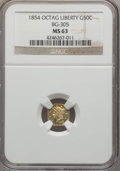 California Fractional Gold , 1854 50C Liberty Octagonal 50 Cents, BG-305, Low R.4, MS63 NGC. NGCCensus: (6/7). PCGS Population (39/9). ...