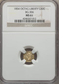 California Fractional Gold , 1854 50C Liberty Octagonal 50 Cents, BG-306, R.4, MS61 NGC. NGCCensus: (6/17). PCGS Population (7/69). ...