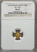 California Fractional Gold , 1874 50C Liberty Round 50 Cents, BG-1033, R.5, MS62 NGC. NGCCensus: (1/1). PCGS Population (8/9). ...