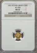 California Fractional Gold , 1853 50C Liberty Round 50 Cents, BG-428, R.3, MS62 NGC. NGC Census:(26/14). PCGS Population (84/35). ...
