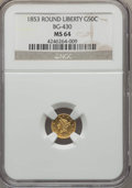 California Fractional Gold , 1853 50C Liberty Round 50 Cents, BG-430, R.3, MS64 NGC. NGC Census:(5/2). PCGS Population (18/7). ...