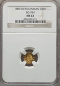 California Fractional Gold , 1880 50C Indian Octagonal 50 Cents, BG-954, Low R.4, MS63 NGC. NGCCensus: (3/3). PCGS Population (29/49). ...
