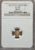 California Fractional Gold , 1853 50C Liberty Octagonal 50 Cents, BG-304, Low R.5, MS62 NGC. NGCCensus: (7/3). PCGS Population (15/16). ...