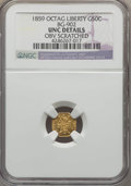 California Fractional Gold , 1859 50C Liberty Octagonal 50 Cents, BG-902, Low R.4, -- ObvScratched -- NGC Details. UNC. NGC Census: (0/21). PCGS Popula...