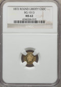 California Fractional Gold , 1872 50C Liberty Round 50 Cents, BG-1013, Low R.6, MS62 NGC. NGCCensus: (4/2). PCGS Population (3/7). ...