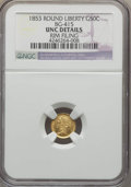 California Fractional Gold , 1853 50C Liberty Round 50 Cents, BG-415, Low R.5, -- Rim Filing --NGC Details. UNC. NGC Census: (0/6). PCGS Population (2/...