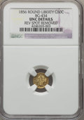 California Fractional Gold , 1856 50C Liberty Round 50 Cents, BG-434, Low R.4, -- Rev SpotRemoved -- NGC Details. UNC. NGC Census: (0/23). PCGS Populat...