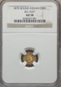 California Fractional Gold , 1875 50C Indian Round 50 Cents, BG-1037, R.4, AU58 NGC. NGC Census:(1/9). PCGS Population (12/49). ...
