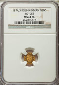 California Fractional Gold: , 1874/3 50C Indian Round 50 Cents, BG-1052, High R.4, MS63 ProoflikeNGC. NGC Census: (1/7). ...