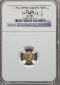 California Fractional Gold , 1856 50C Liberty Octagonal 50 Cents, BG-307, High R.5, -- Bent --NGC Details. UNC. NGC Census: (0/10). PCGS Population (2/...