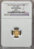 California Fractional Gold , 1872 50C Indian Round 50 Cents, BG-1048, Low R.4, -- Bent -- NGCDetails. UNC. NGC Census: (0/15). PCGS Population (4/104)....