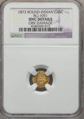 California Fractional Gold , 1873 50C Indian Round 50 Cents, BG-1051, Low R.5, -- Obv Damage --NGC Details. UNC. NGC Census: (0/7). PCGS Population (3/...