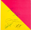 Music Memorabilia:Autographs and Signed Items, James Taylor, Graham Nash, and David Crosby Signed Flag LP(Columbia FC36058, 1979)....