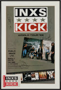 """Music Memorabilia:Autographs and Signed Items, INXS """"Kick"""" Tour Poster Signed by Five in Framed Display (Atlanta,1988)...."""