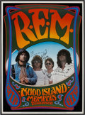 Music Memorabilia:Autographs and Signed Items, R.E.M. Signed Griffin/Tuten Tennessee Concert Poster (1986)....