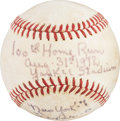 Baseball Collectibles:Balls, 1972 Bobby Murcer Game Used 100th Home Run Baseball from The Bobby Murcer Collection. ...